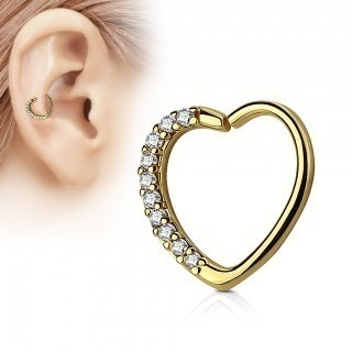 Piercing ring with heart shape and coloured crystal