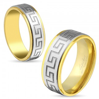 Gold IP ring with maze pattern in steel centre