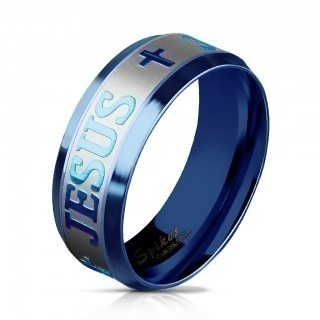 Blue ring with 'Jesus' and cross