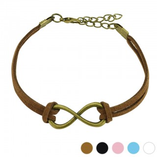 Leather cord bracelet with large infinity symbol
