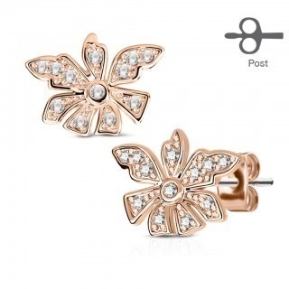 Pair ear studs with flower and clear gemstones