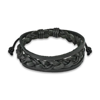Black leather bracelet with woven strip in centre