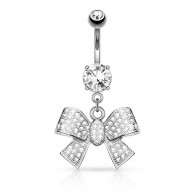 Solid golden belly piercing with luxury crystallized bow
