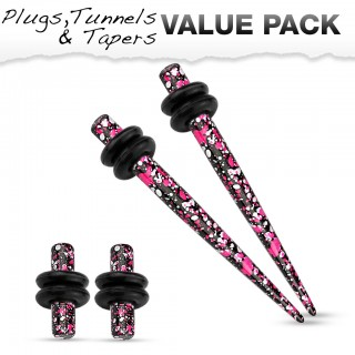 Stretch set inc. plugs met roze paars spetter patroon