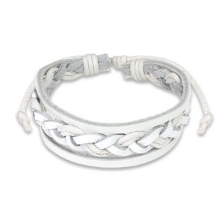 White leather bracelet with woven strip in centre
