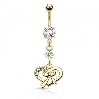 Coloured belly bar with heart and ribbon dangle