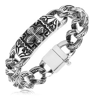 Luxurious link bracelet with engraved links and Celtic cross plate