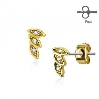 Pair of ear studs with three leaves and diamonds