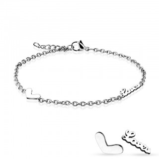 Chain linked bracelet with heart and LOVE in the chain