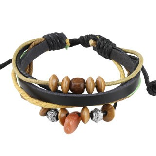 Dual coloured leather bracelet with different kinds of beads