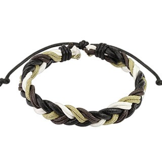 Dark brown woven cord bracelet with multiple colours