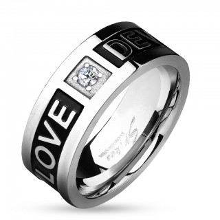 Steel ring with gem and 'Love Devotion' engraving