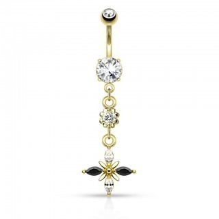 Belly bar with black/clear flower dangle