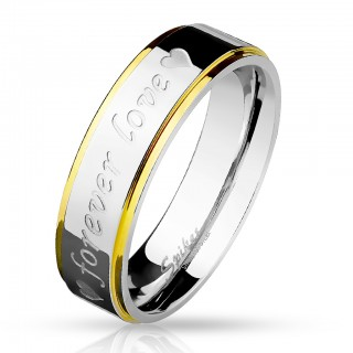 Steel ring 'Forever Love' ans hearts engraved