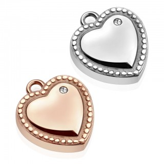 Pendant with heart and one crystal