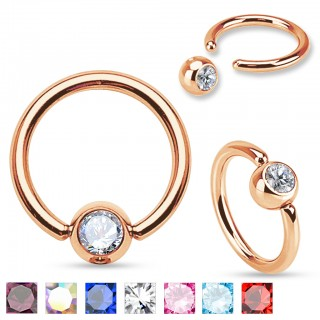 Rose gold plated ball closure ring with coloured stone