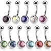 Basic belly bars with coloured stone