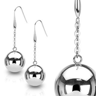 Pair of ear drops with big steel balls