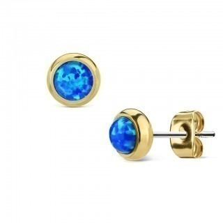 Pair gold ear studs with coloured opal stone