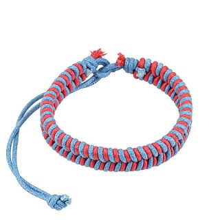 Pink and blue leather bracelet with fishtail braids