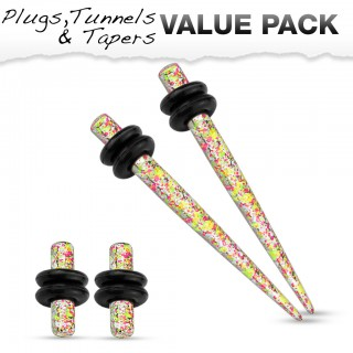 Stretch set inc. plugs met oranje geel spetter patroon