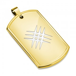 Gold plated Dog Tag pendant with crossed scratches