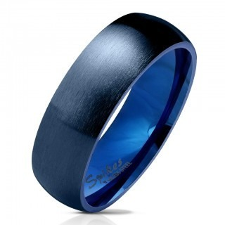 Ring with matte finish and blue colour