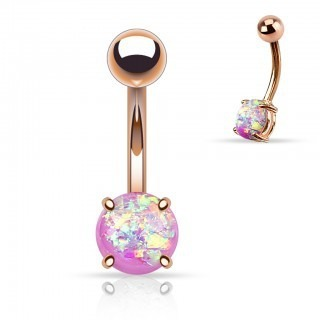 Rose gold plated belly bar with coloured Opal stone