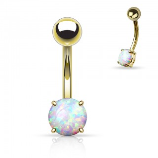Gold plated belly button piercing with round Opal stone