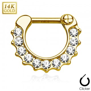 Solid gold septum clicker with strip of clear crystals