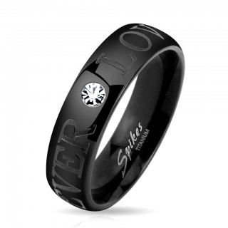 Couple ring with cubic zirconia and 'Forever Love' engraved