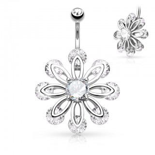 Belly bar with flower of 9 clear diamonds