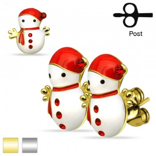Pair of studs with snowman