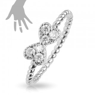 Adjustable mid ring with crystal ribbon