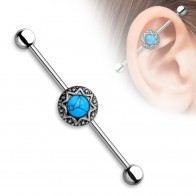 Vintage Industrial Barbell with tribal stardust en Turqoise precious stones
