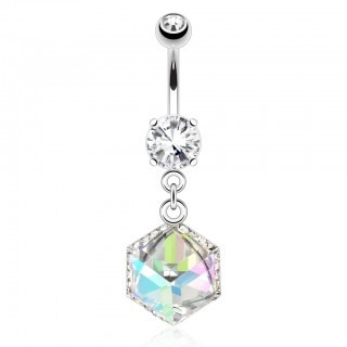 Belly button jewelry with large prism shaped gemstone