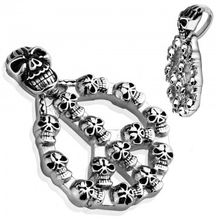 Peace sign with skulls pendant