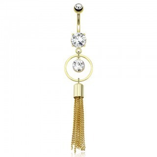 Gold belly bar with ring and multi chains