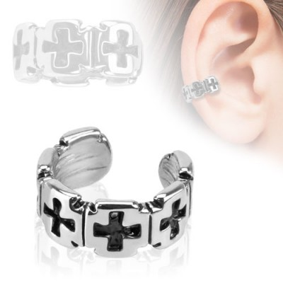 Clip on helix ring with crosses