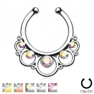 Fake septum hanger with rings and five gems