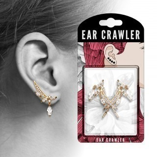 Pair ear crawlers with clear crystal feather
