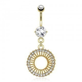 Gold belly button ring with circle and clear gems