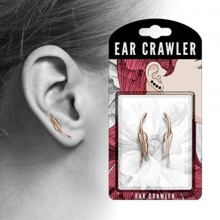 Pair of coloured ear crawlers with feather
