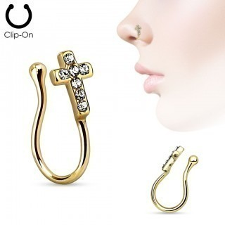 Rose gold fake nose ring with crystal cross