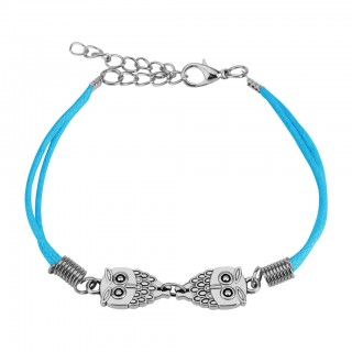 Bracelet with steel owls and lobster clasp