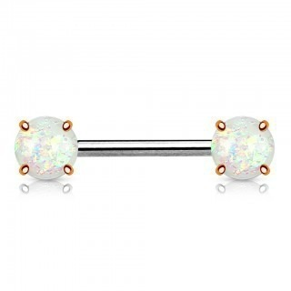 Nipple bars with prong set opal stone