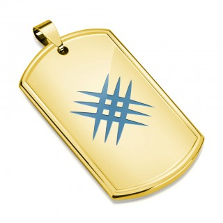 Gold plated Dog Tag pendant with blue crossed scratches