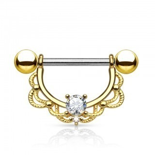 Gold plated nipple piercing with clear crystal in shield