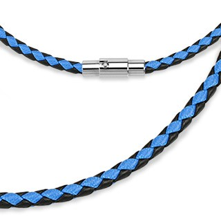 Black and blue leather chain with lockable magnetic closing