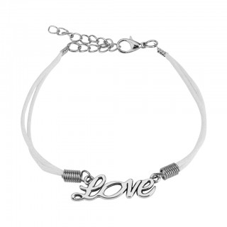 Leather bracelet with LOVE symbol and lobster clasp